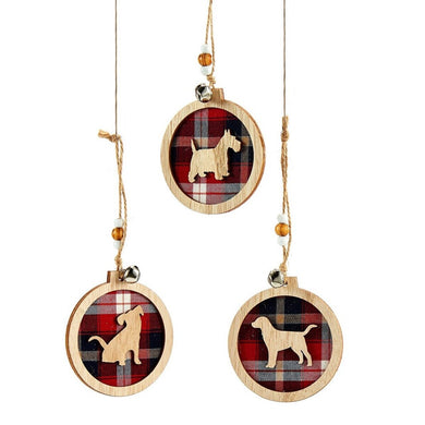 Wooden Plaid Ornament Set of 3 With Dog