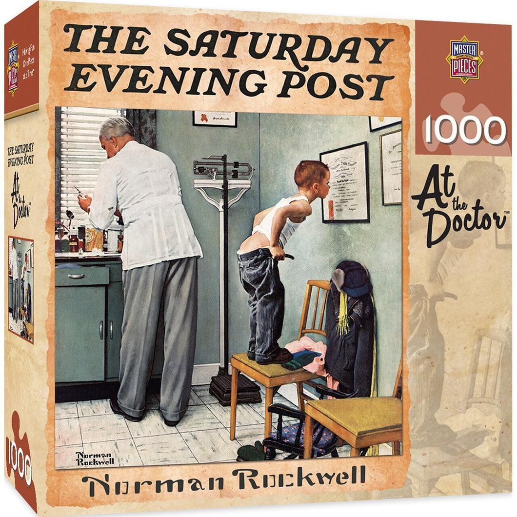 Saturday Evening Post - At The Doctor 1000 Piece Jigsaw Puzzle by Norman Rockwell