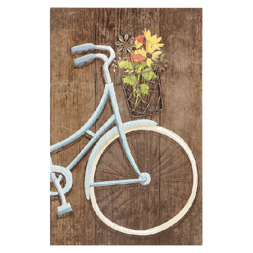 Bicycle with Wild Flowers Wall Plaque