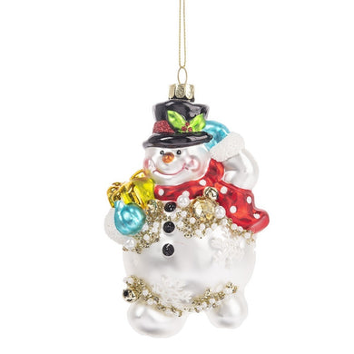 Glass Snowman Ornament With Beaded Detail