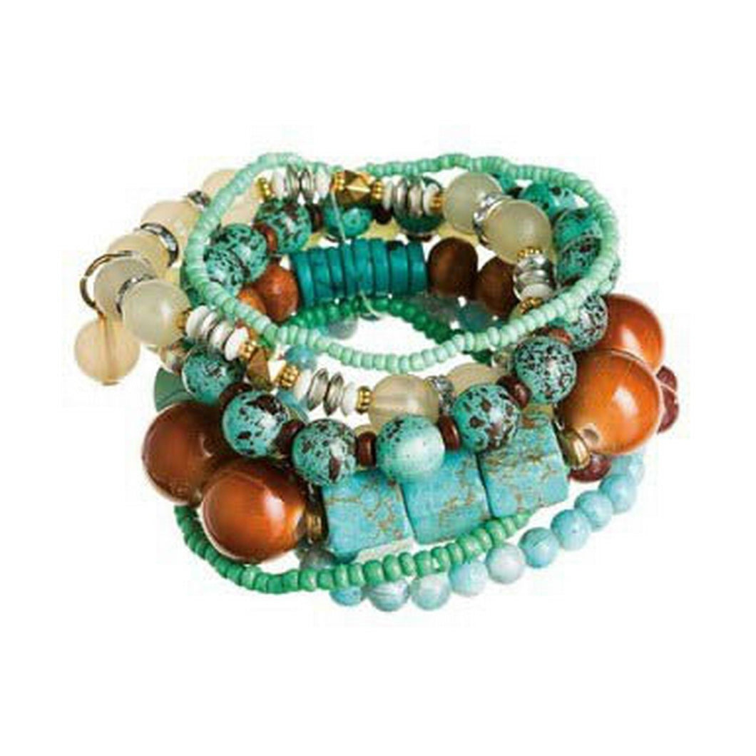 Brown And Turquoise Multistrand Mixed Bead Bracelet
