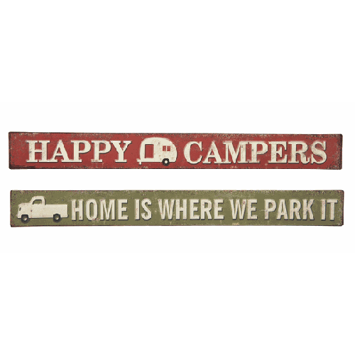 Metal Happy Campers or Home is Where You Park It Sign