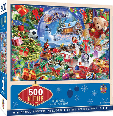 Snow Globe Dreams 500 Piece Holiday Glitter Jigsaw Puzzle