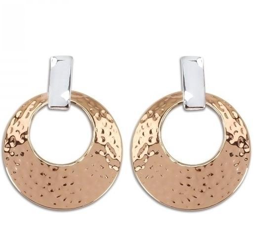 Hammered Two Tone Clip Earrings