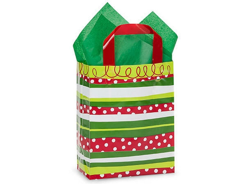Celebration Stripe Plastic Gift Bags Cub Size