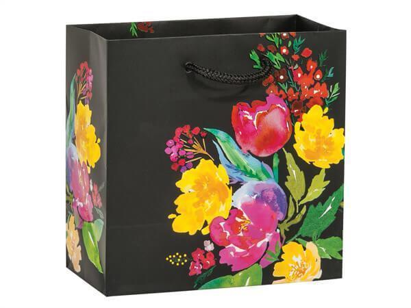Black Floral Garden Blooms Gift Bag 6.5x6.5