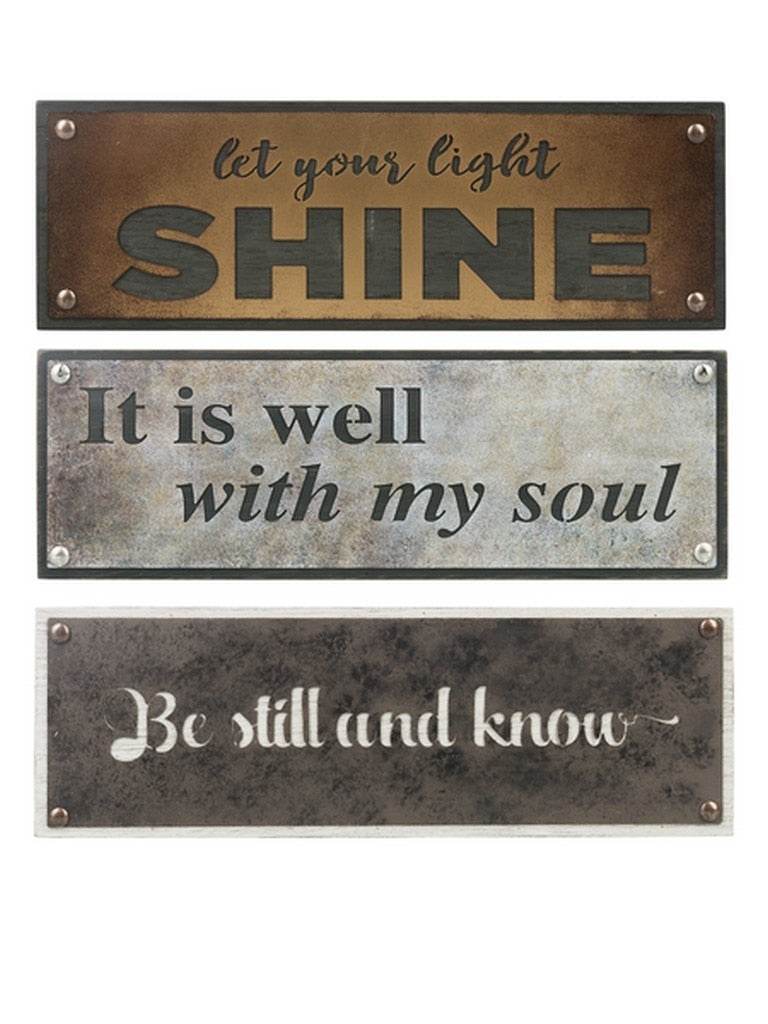 Wood And Metal Die Cut Inspirational Shelf Plaque