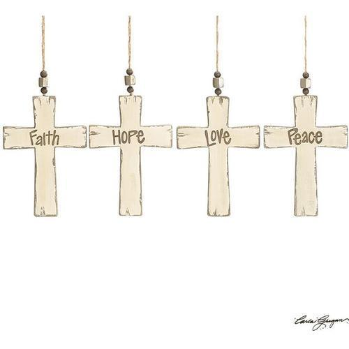 Distressed Wood Cross Message Ornament
