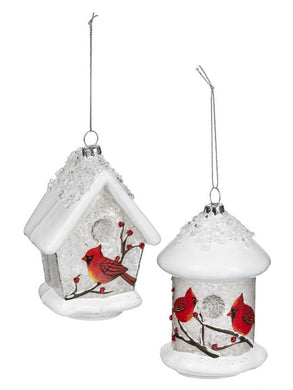 Glass Snowy Birdhouse With Cardinals Ornament