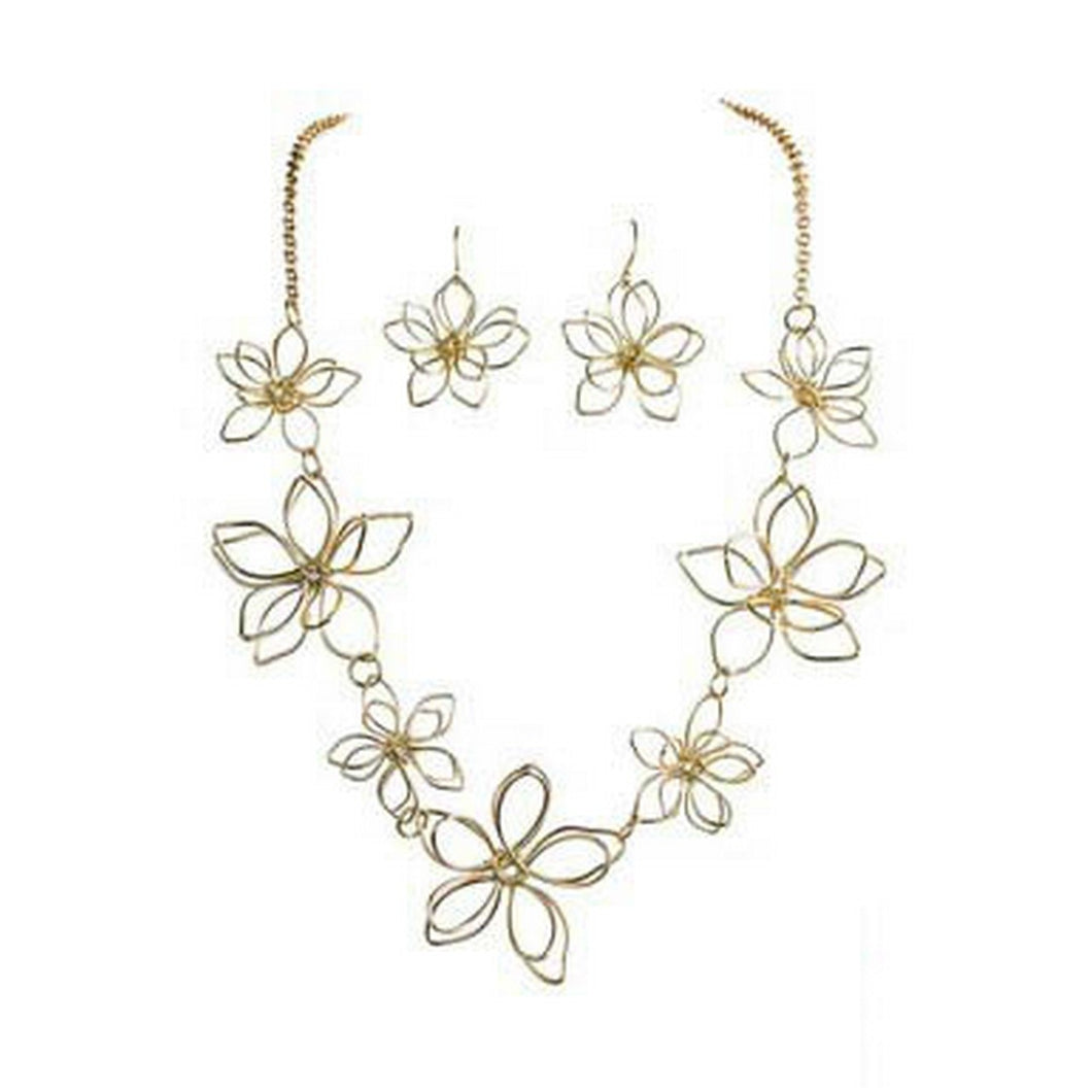 Gold Flowers Necklace Set