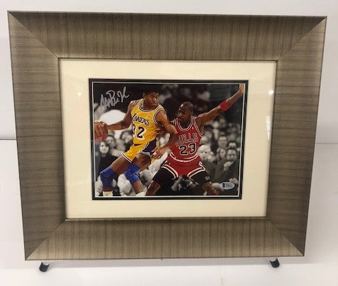 Magic Johnson Hand Signed and Michael Jordan 8x10 Photograph