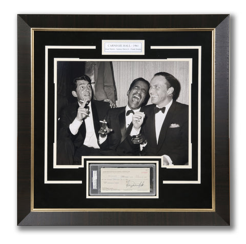 "The Rat Pack ""At Carnegie Hall"" Vintage Photograph With Hand Signed Sammy Davis Junior Check"