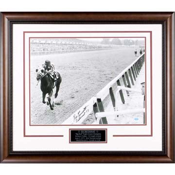 "Secretariat at Belmont ""1973 Triple Crown Champion"" Photograph Hand Signed by Ron Turcotte"