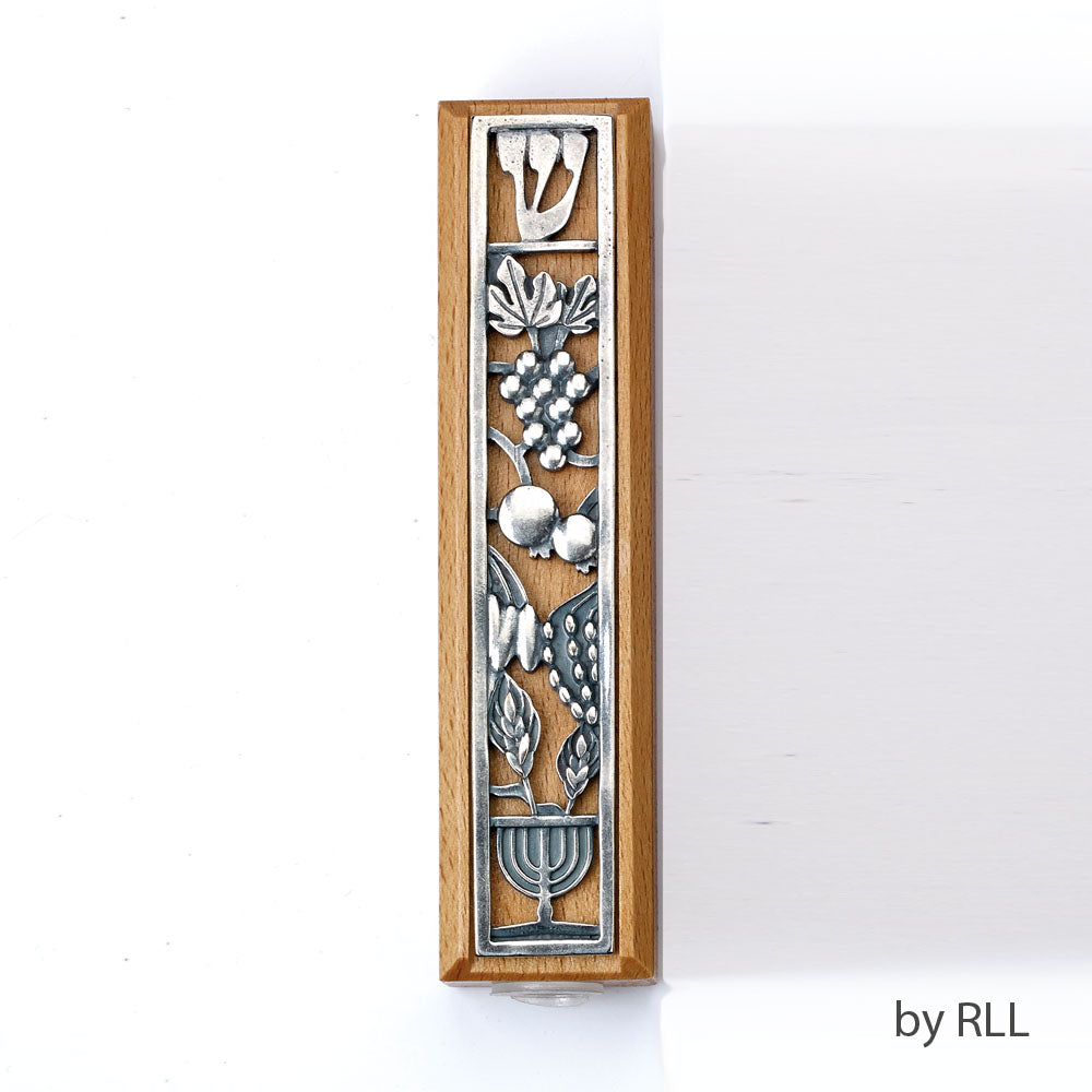Boxwood Mezuzah with Metal Design - 5""