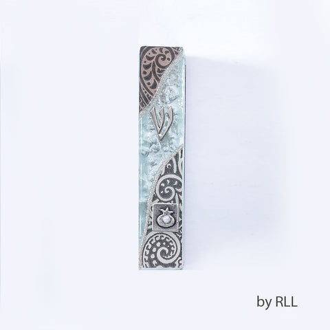 Black & Creme Tone & Glass Pomegranate Mezuzah by Lily