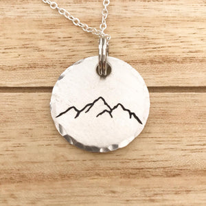 Mountain Range Stamped Necklace - Copper Paws Dog Tags