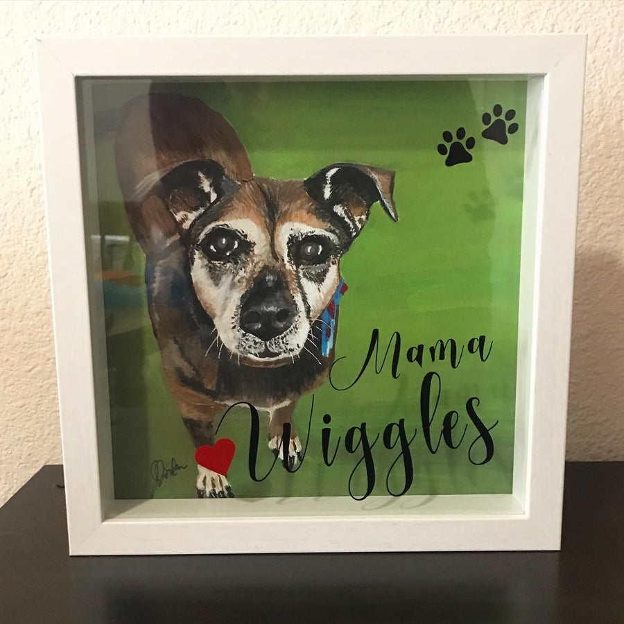 Hand-Painted Pet Shadow Box - Copper Paws Dog Tags