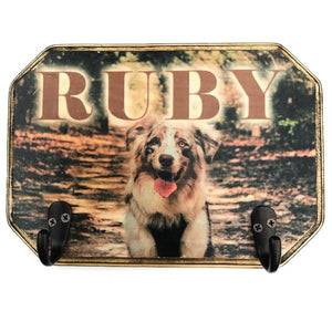 Custom Wooden Leash Hanger - Copper Paws Dog Tags