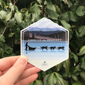 Sledding Journey Sticker - Copper Paws Dog Tags