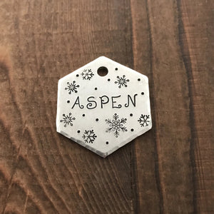 Snowfall- Winter Collection - Copper Paws Dog Tags