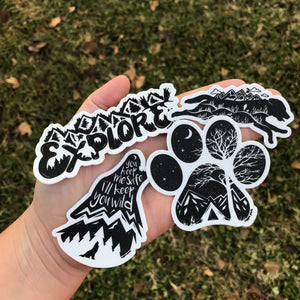 B/W Sticker Combo - Copper Paws Dog Tags