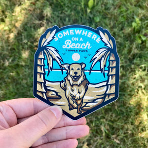 Beach Dog Sticker - Copper Paws Dog Tags