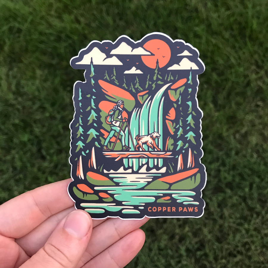 Waterfall Hike Sticker - Copper Paws Dog Tags