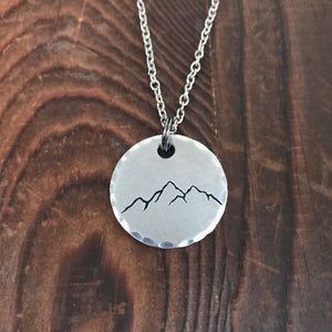 Mountain Range Stamped Necklace