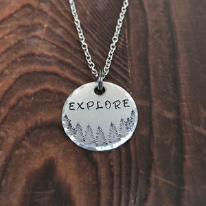 Explore Stamped Necklace - Copper Paws
