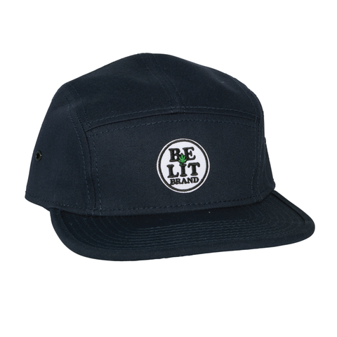 "Be Lit 5-Panel Hat in Navy, ""Be Lit Brand"" Patchbelitbrandbelitbrand"