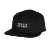 "Be Lit 5-Panel Hat in Black, ""Too Lit To Quit"" PatchBe Lit Brandbelitbrand"