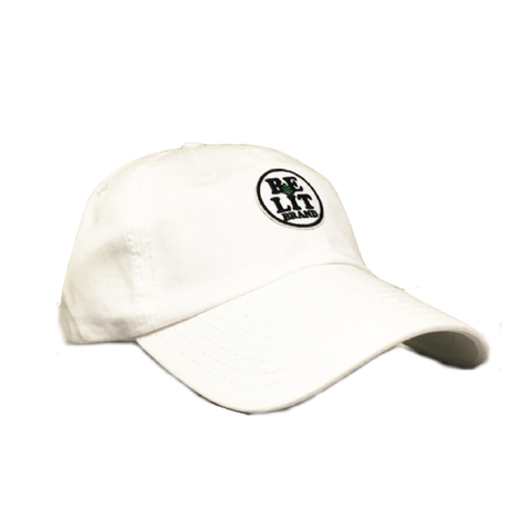 "Be Lit Dad Hat in White, ""Be Lit Brand"" Patchbelitbrandbelitbrand"