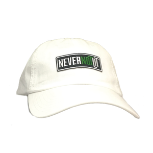 "Be Lit Dad Hat in White, ""Never Not Lit"" Patchbelitbrandbelitbrand"