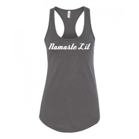 "Be Lit Racerback Tank, Warm Grey ""Namaste Lit"""