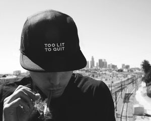 "Be Lit 5-Panel Hat in Black, ""Too Lit To Quit"" Patchbelitbrandbelitbrand"