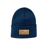 "Be Lit Beanie in Ocean Blue, ""Too Lit To Quit"" Leather PatchBe Lit Brandbelitbrand"