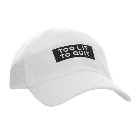 "Be Lit Dad Hat in White, ""Too Lit To Quit"" Patchbelitbrandbelitbrand"