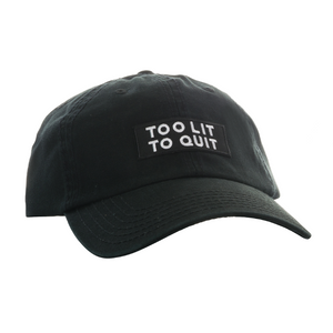 "Be Lit Dad Hat in Black, ""Too Lit To Quit"" Patchbelitbrandbelitbrand"