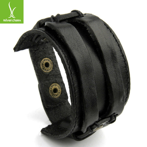 Silvercharm Leather Cuff Double Wide Bracelet and Rope Bangles Brown for Men