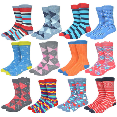 Colorful Socks Men Blue Series Stripes and Grids Cotton Sox Mens Business Dress Socks 20 colors