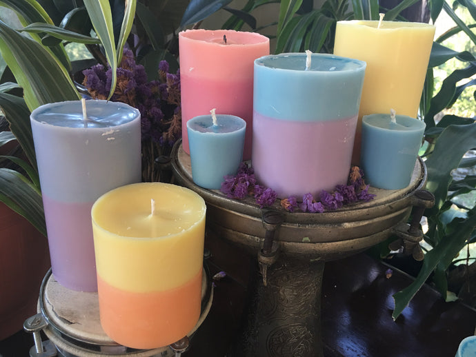 Pillar candles, organic, eco wick, 100% organic essential oils