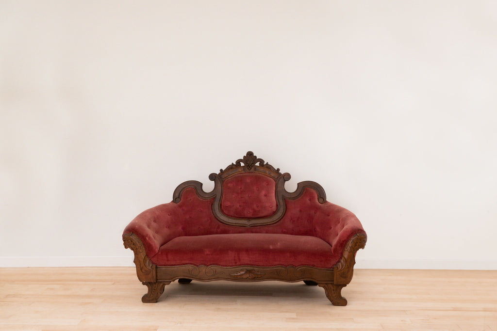 Rental - Red Velvet Sofa