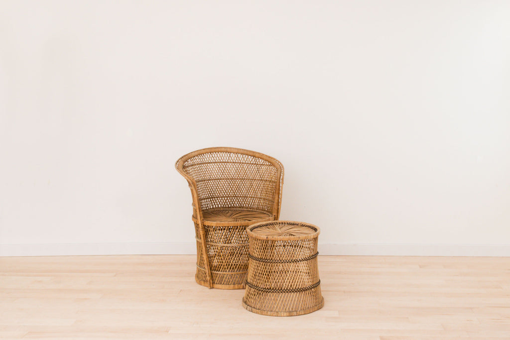 Rental - Vintage Wicker Chair and Stool Set