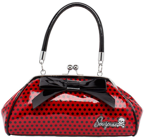 Floozy Bag- Red Polka Dot With Black Bow