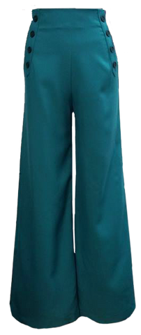 Sailor Pants- Teal with Black Buttons