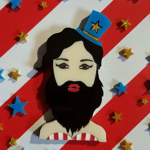Justine The Bearded Lady Brooch