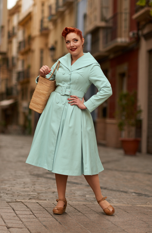 Antonella Canvas Swing Coat- Mint- WAS $250