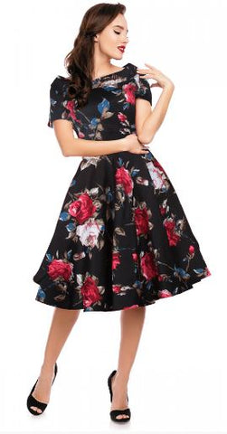 Darlene Black Floral Dress