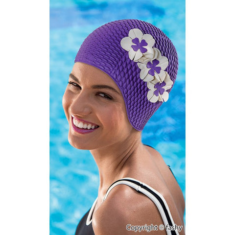 Vintage Reproduction Bathing Cap-Purple Tri Flower