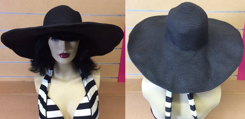 Wide Brimmed Sun Hat- Black- WAS $29